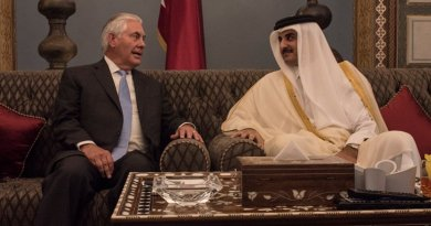 U.S. Secretary of State Rex Tillerson meets with the Emir of Qatar, His Highness Sheikh Tamim Bin Hamad Al Thani, at the Sea Palace in Doha, Qatar, on July 11, 2017. [State Department photo/ Public Domain]