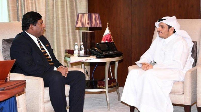 Sri Lanka's Minister of Foreign Affairs Ravi Karunanayake meets with Sheikh Tamim Bin Hamad Al-Thani, Emir of the State of Qatar. Photo Credit: Sri Lanka government.
