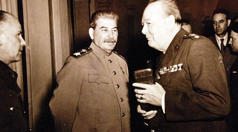 Onboard warship during Crimean conferences at Yalta, Russia, February 4 to 11, 1945, Prime Minister Winston S. Churchill is closely observed by Marshal Joseph Stalin (U.S Navy/U.S. National Archives and Records Administration/Released March 22, 2016)