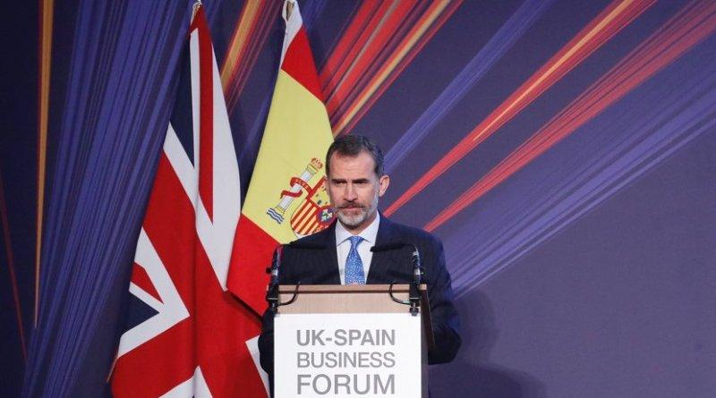 Spain's King Felipe VI speaking at the UK-Spain Business Forum. Photo Credit: Spain's Casa Real.