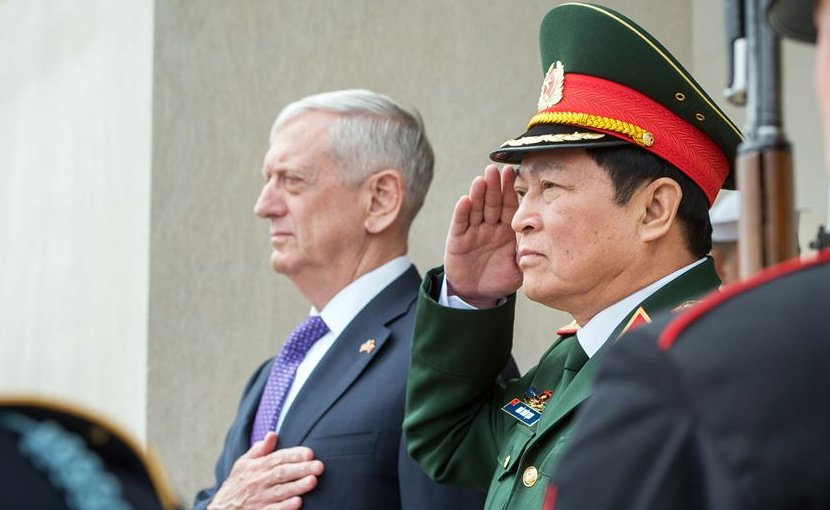 Defense Secretary Jim Mattis and Vietnamese Defense Minister Gen. Ngo Xuan Lich render honors during the national anthem at the Pentagon in Washington, D.C., Aug. 8, 2017. DoD photo by Air Force Staff Sgt. Jette Carr