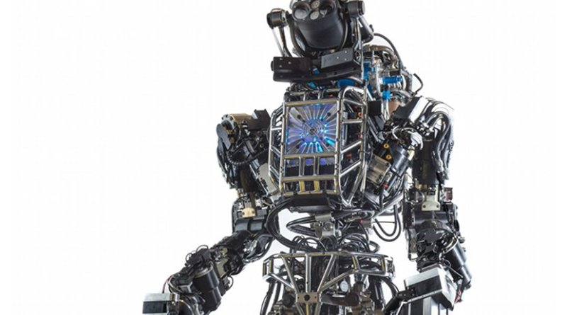 Front view of the humanoid robot Atlas, created by DARPA and Boston Dynamics. Photo Credit: DARPA