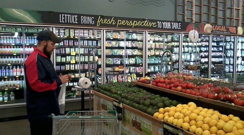 The produce department of a new Whole Foods Market located in the Southern Hills area of Tulsa, OK. Photo by GEOGOZZ, Wikimedia Commons.