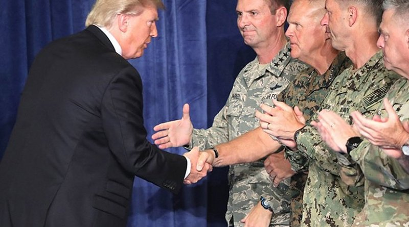 President Donald Trump meets with US generals.