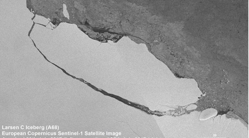 View of the A68 iceberg from a European Copernicus Sentinel-1 satellite image acquired on July 30, 2017. Credit A. Fleming, British Antarctic Survey