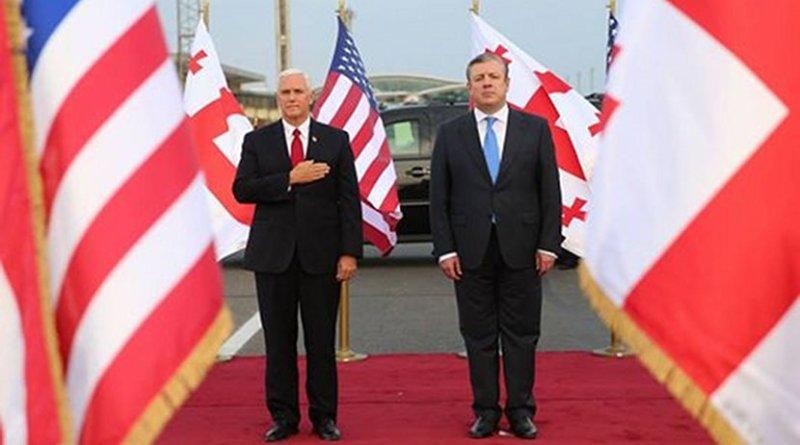 US Vice President Mike Pence arrived in Tbilisi, Georgia with Prime Minister Georgia Giorgi Kvirikashvili. Photo Credit: Georgia PM Office.