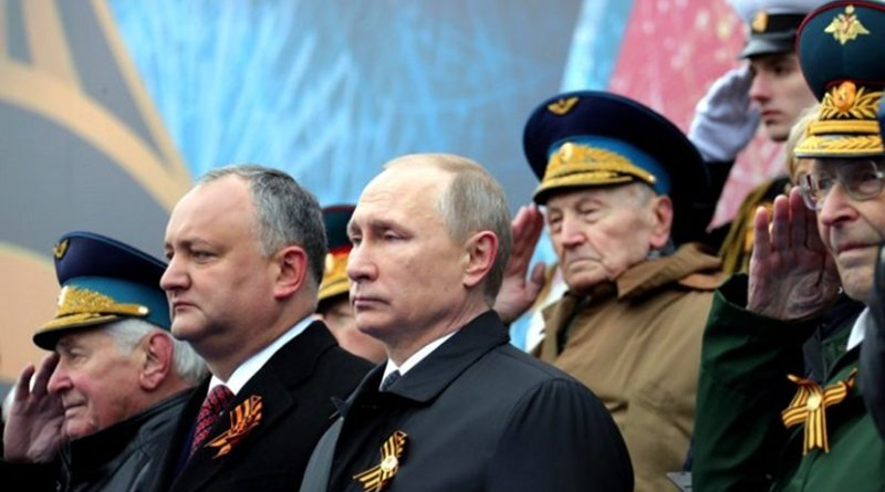 President Igor Dodon of Moldova (left) attending the military parade on Red Square celebrating the anniversary of Nazi Germany's defeat in World War II (Source: kremlin.ru)