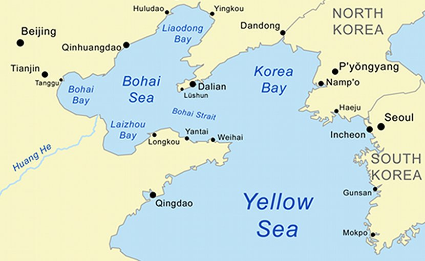 Location of the Yellow Sea the northern part of the East China Sea, Bohai Sea and Korea Bay. Source: Wikipedia Commons.