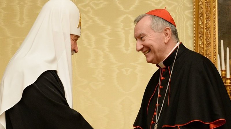 Holiness Patriarch Kirill of Moscow and All Russia met with the Secretary of State of the Holy See, Cardinal Pietro Parolin. Photo Credit: Russian Orthodox Church DECR Communication Service.