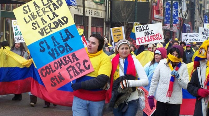 A protest against Revolutionary Armed Forces of Colombia (FARC). Photo by Robert Thivierge, Wikipedia Commons.