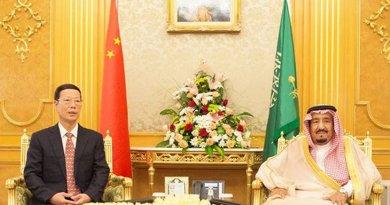 Saudi Arabia's King Salman meets with China's Vice Premier Zhang Gaoli in Jeddah. Photo Credit: SPA