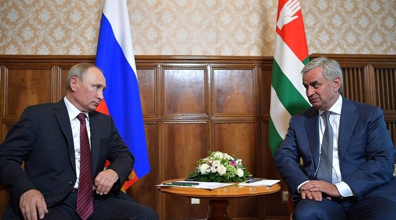 Russia's President Vladimir Putin meets with President of Abkhazia Raul Khadjimba. Credit: Kremlin.ru