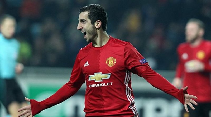 Henrikh Mkhitaryan celebrating a goal for Manchester United in 2016. Photo by Станислав Ведмидь, Wikipedia Commons.