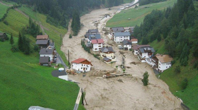 Flooding in August 2005 in Kappl-Nederle (Paznaun Valley, Tyrol). Credit TU Wien/ASI/Land Tirol/BH Landeck
