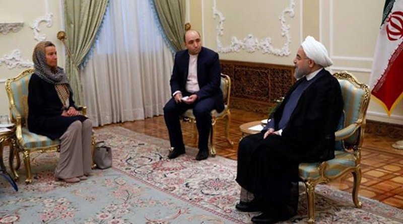 Conversation between Hassan Rouhani, Iranian President, on the right, and Federica Mogherini. Photo: Aref Taherkenareh, European Commission.