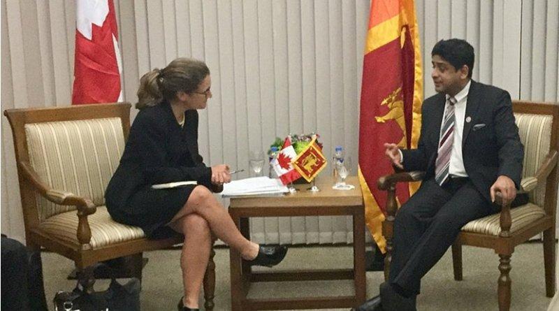 Sri Lanka's Minister of Foreign Affairs Vasantha Senanayake meeting with Chrystia Freeland, Minister of Foreign Affairs of Canada. Photo Credit: Sri Lanka government.