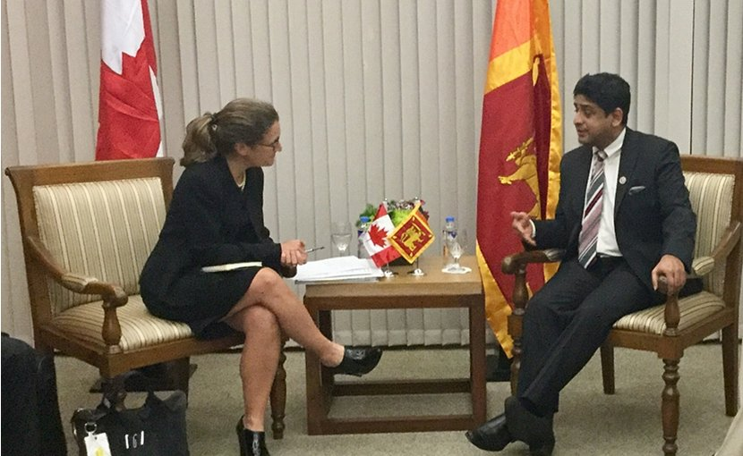 Sri Lanka's Minister of Foreign Affairs Vasantha Senanayake meeting with Chrystia Freeland, Minister of Foreign Affairs of Canada. Photo Credit: Sri Lanka government.