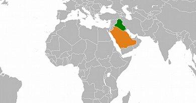 Locations of Iraq and Saudi Arabia.
