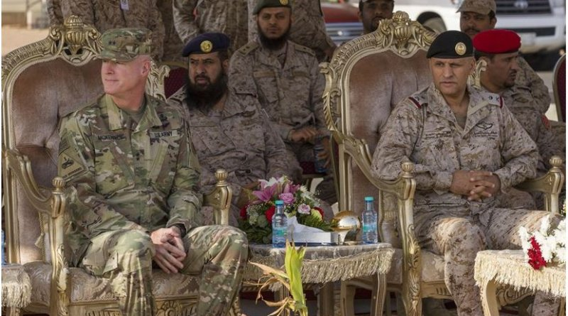 Maj. Gen. Terrence J. McKenrick, US Army Central deputy commanding and Gen. Dhafer bin Ali Al-Shehri, Royal Saudi Land Forces northwest area commander, attend the Earnest Leader 17 closing ceremony held in the Kingdom of Saudi Arabia on August 10, 2017. The purpose of the Earnest Leader 17 exercise was to enhance interoperability and strengthen U.S. and Royal Saudi Land Forces military-to-military relationships (U.S. Army photo by Master Sgt. Mark Hanson)