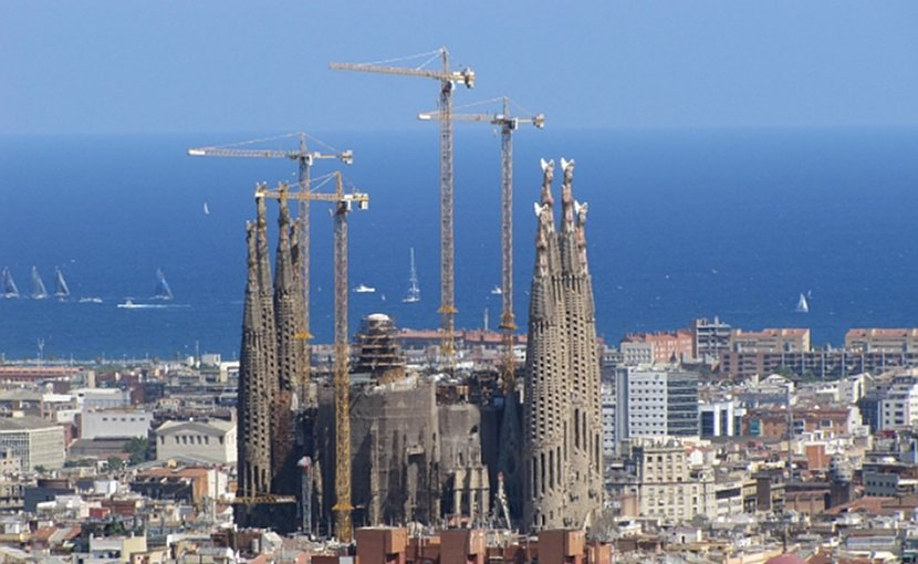 La Sagrada Familia overlooking Barcelona, Spain.