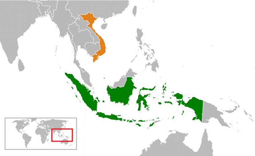 Locations of Indonesia and Vietnam. Source: Wikipedia Commons.