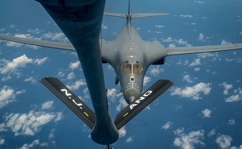 A U.S. Air Force B-1B Lancer prepares to receive fuel from a KC-135 Stratotanker during a mission from Andersen Air Force Base, Guam, into Japanese air space and over the Korean Peninsula, Aug. 31, 2017. After refueling, the Lancers flew with Japanese and South Korean fighter jets for parts of the mission as a demonstration of U.S. commitment to its allies in the region. Air Force photo by Staff Sgt. Joshua Smoot