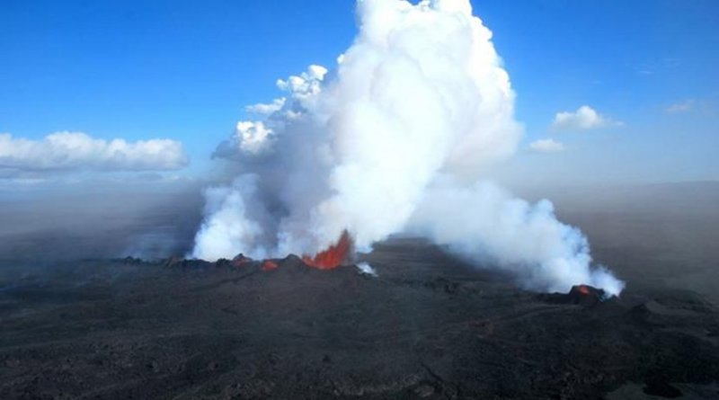 Lava bursts from a volcano at the present-day Icelandic rift. Credit Morgan Jones and Henrik Svenson