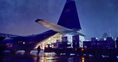 File photo of U.S. airmen loading cargo onto the ramp of a C-130-J Super Hercules aircraft on Ramstein Air Base, Germany. Photo Credit: DoD