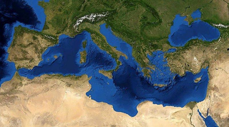 Satellite image of the Mediterranean Sea. Photo Credit: NASA, Wikimedia Commons.
