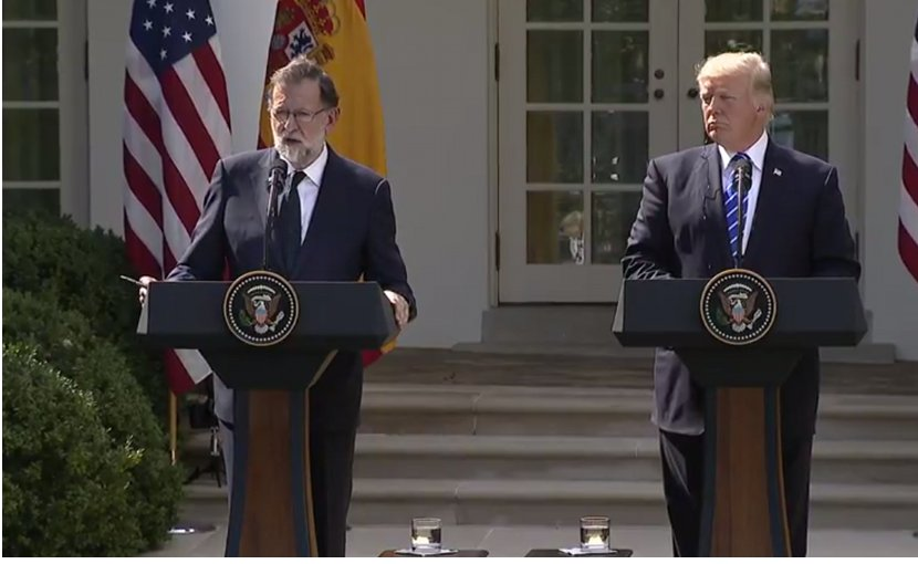Spain's Prime Minister Mariano Rajoy at joint press conference with US President Donald Trump at the White House. Credit: Screenshot from White House video.