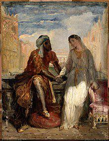 """Othello and Desdemona in Venice"" by Théodore Chassériau (1819–56)"