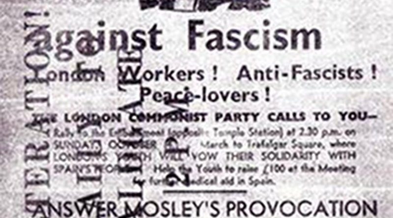 Battle of Cable Street, London, United Kingdom. Flyer distributed by the London Communist Party