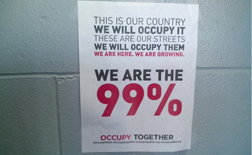 Occupy Wall Street Poster. Photo by Seth Cochran, Wikipedia Commons.