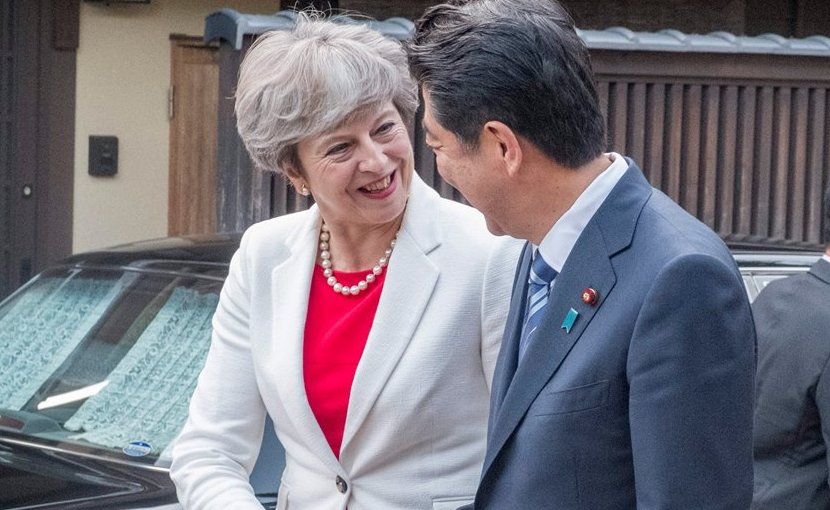 United Kingdom's Prime Minister Theresa May with Japan's Prime Minister Shinzo Abe. Photo Credit: UK Prime Minister's Office, 10 Downing Street.
