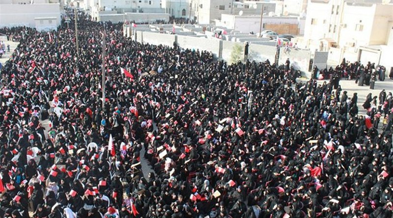 Women taking part in a pro-democracy sit in in Sitra, Bahrain. Photo by Bahrain in Pictures, Wikipedia Commons.
