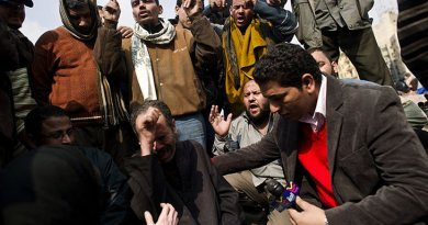 An Alhurra reporter interviews Egyptian protesters. Photo by Deirdre Kline, Wikipedia Commons.