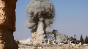 Islamic State propaganda image showing the Temple of Baalshamin's destruction in Palmyra, Syria in 2015. Photo Credit: Islamic State propaganda.