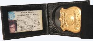 Elvis Presley's Memphis police badge and ID.