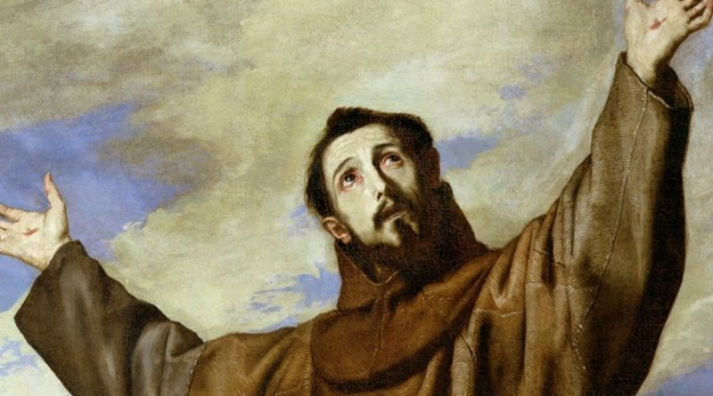 St Francis of Assisi in detail of painting by Jusepe de Ribera. Source: WIkipedia Commons.