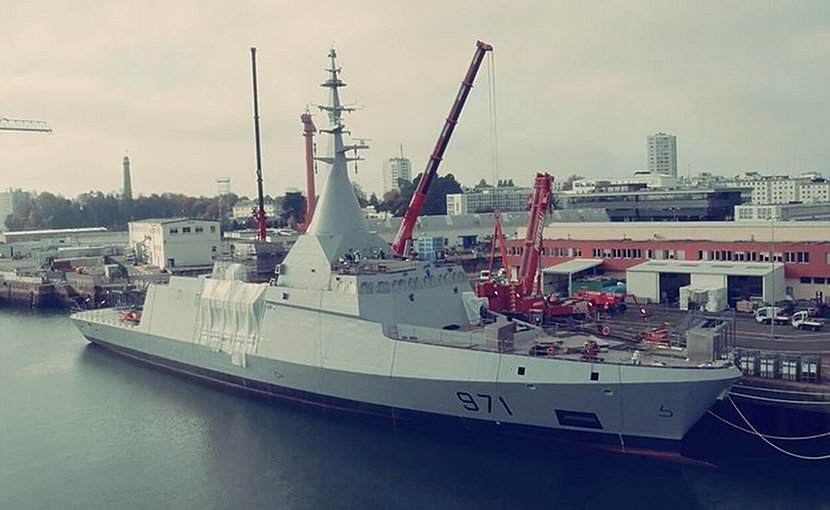 Still in dockyards, installing the panoramic sensors and intelligence module on-board the Gowind Corvette El Fateh. Photo by Ahmed XIV, Wikipedia Commons.