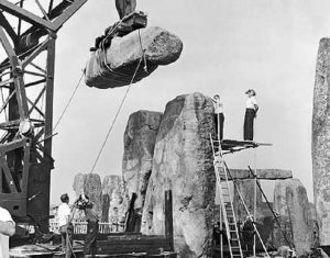 Workers at Stonehenge in 1901 restoration.