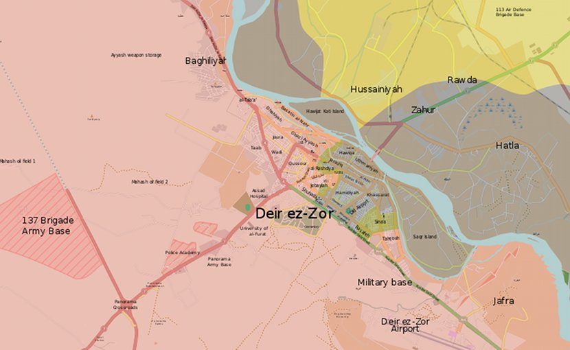 The situation in Deir ez-Zor on September 12, 2017. Pink area controlled by Syrian government forces; Yellow by Syrian Democratic Forces, and: Grey by Islamic State. Source: Wikipedia Commons.