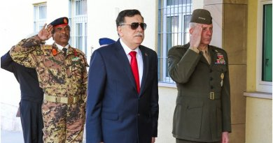 Fayez al-Sarraj, the prime minister of Libya's unity government, and Marine Corps Gen. Thomas D. Waldhauser, commander of U.S. Africa Command, render honors before a meeting at the U.S. Africa Command headquarters in Stuttgart, Germany, April 5, 2017. During the visit, Sarraj and his delegation received operational updates and discussed future U.S. cooperation in Libya. Africom photo by Nate Herring