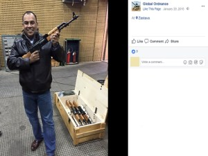 Marc Morales uploaded photos on January 29, 2015, of him testing weapons at the Zastava factory, Kragujevac, Serbia. Photo: Facebook