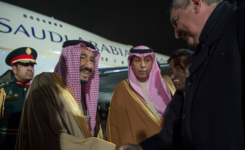 Saudi Arabia's King Salman is greeted in Moscow by Russia's Deputy Minister Dimitry Rogozin. Photo Credit: SPA