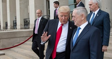 US Defense Secretary James Mattis with US President Trump and Vice President Mike Pence. DOD photo by U.S. Air Force Staff Sgt. Jette Carr.