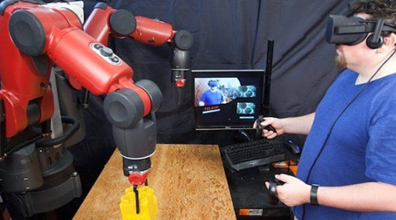 VR system from Computer Science and Artificial Intelligence Laboratory could make it easier for factory workers to telecommute. Credit Jason Dorfman, MIT CSAIL