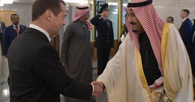 Russia's Dmitry Medvedev with Saudi Arabia's King Salman. Photo Credit: Government.ru