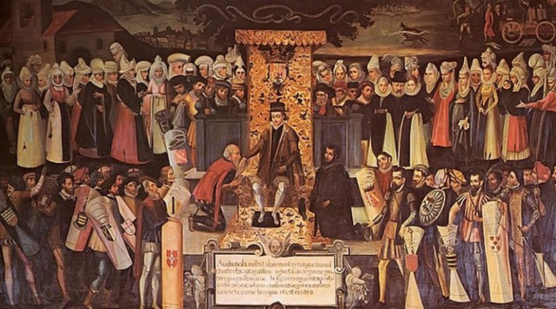 """Ferdinand the Catholic confirming the fueros of Biscay at Guernica in 1476. Painting, Vázquez de Mendieta, """"Besamanos"""", Wikipedia Commons."""
