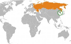 Map indicating locations of North Korea and Russia. Source: Wikipedia Commons.